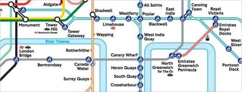 Plan du téléphérique de Londres