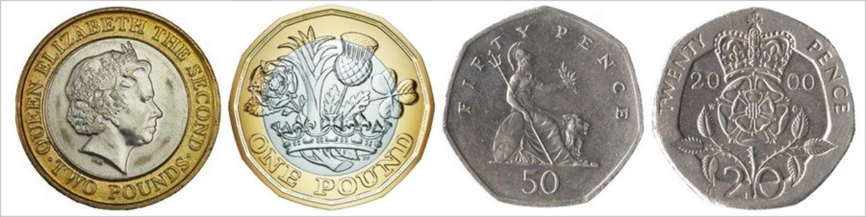 2 pounds, 1 pound, 50 pence, 20 pence