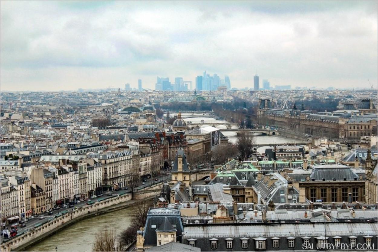 Au fond, La Défense. Au second plan, la grande roue de la Concorde et le Grand Palais