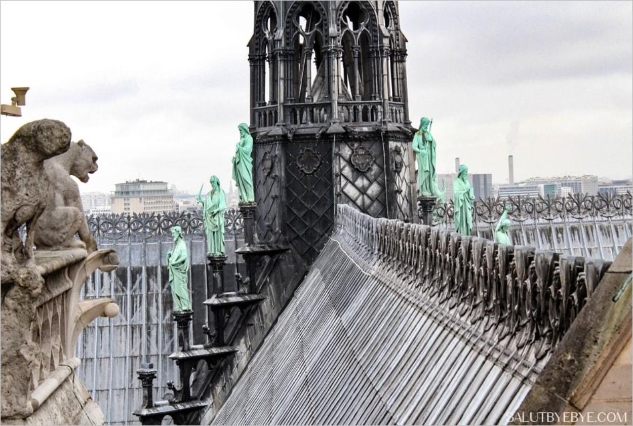 Le toit de Notre Dame de Paris depuis la galerie des Chimères