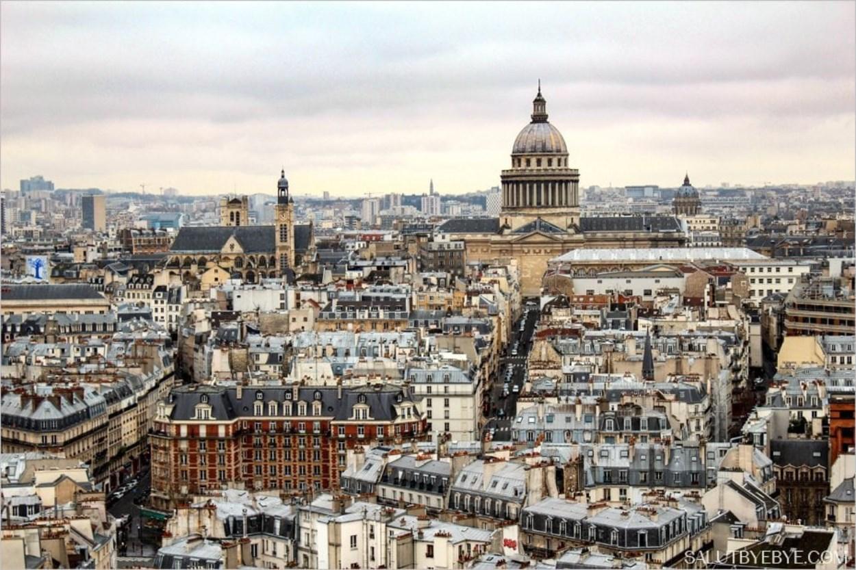Le Panthéon vu depuis la cathédrale Notre Dame de Paris