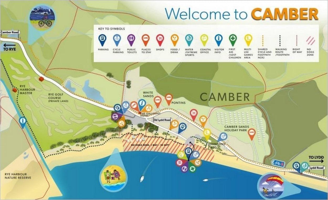 Plan de Camber Sands, Sussex