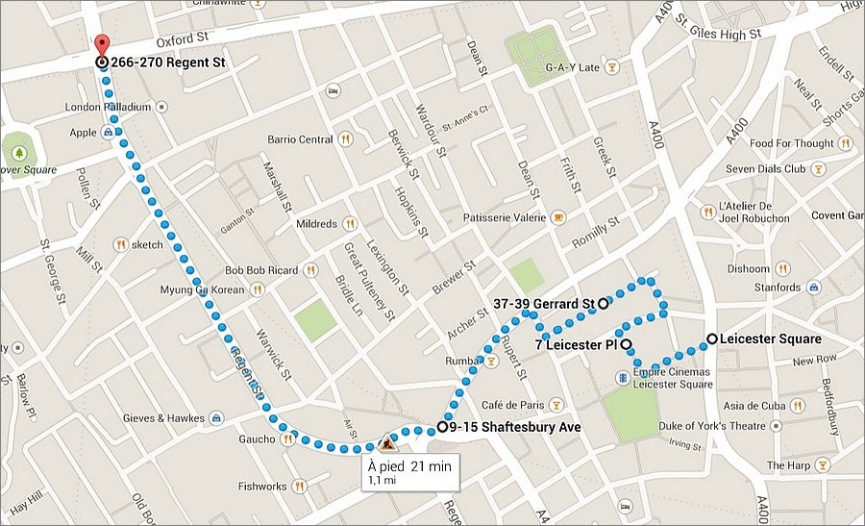 Balade à Londres autour de Leicester Square et Shaftesbury Avenue
