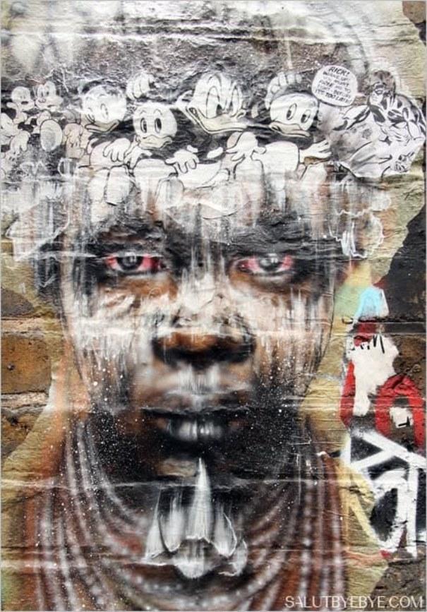 Shoreditch à Londres : portrait street art