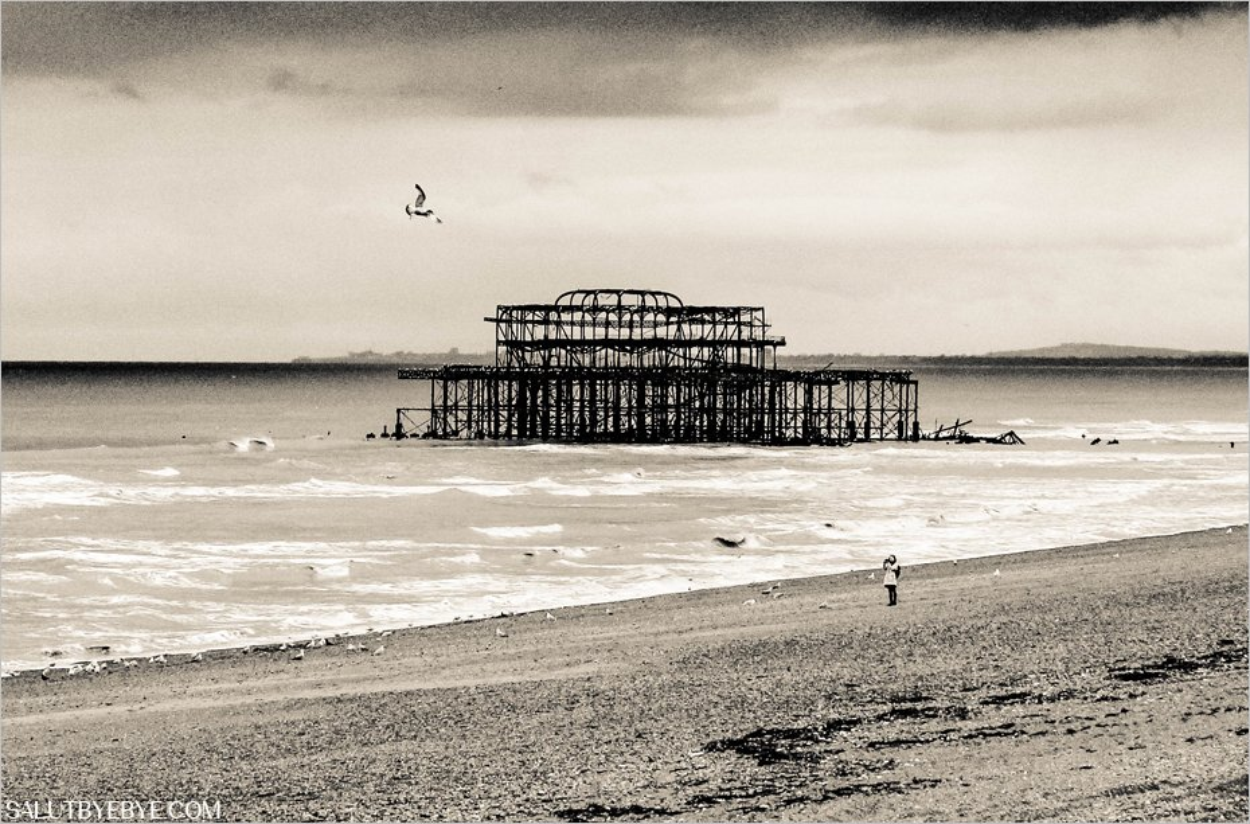 Le Brighton Pier brûlé