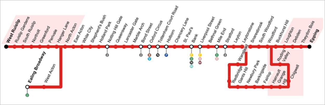La Central Line - Parties non desservies par le métro de nuit