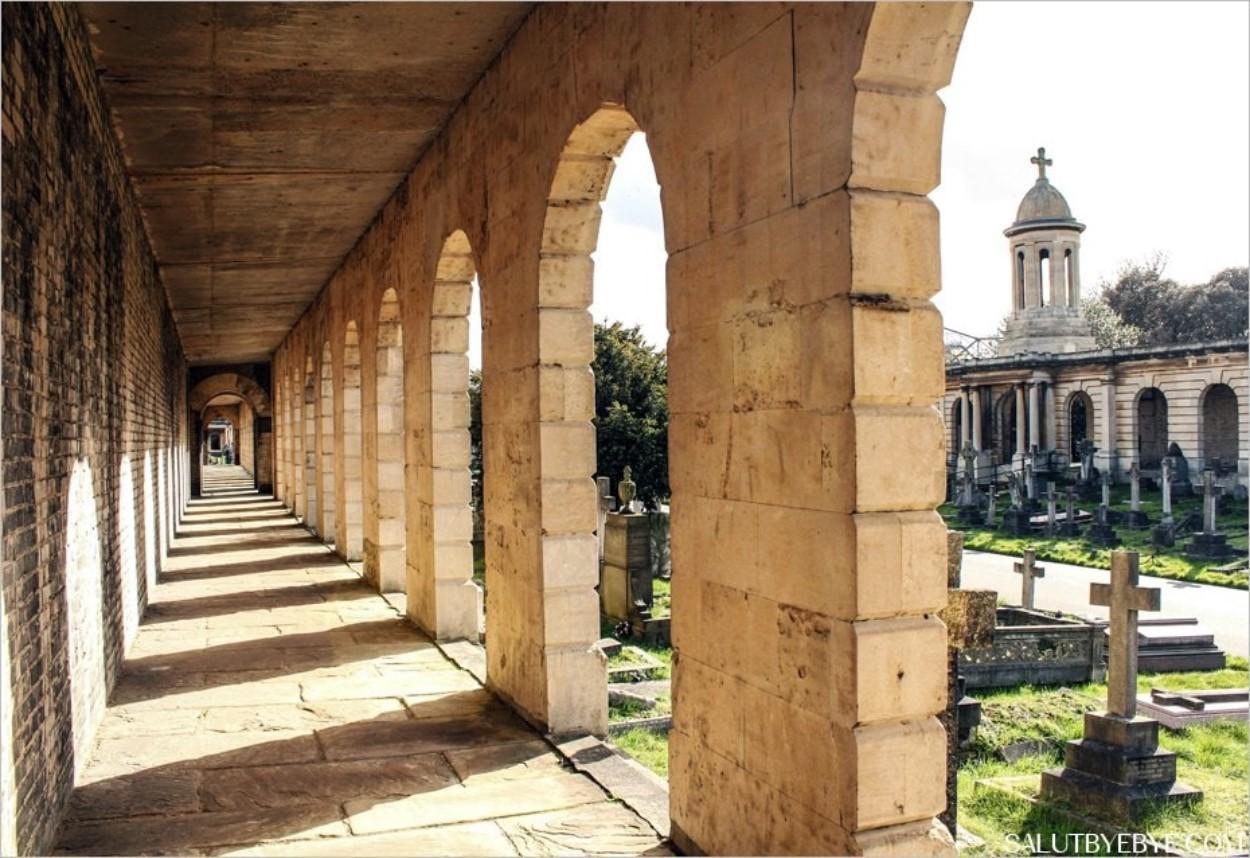 Les colonnades du cimetière de West Brompton en direction de la chapelle
