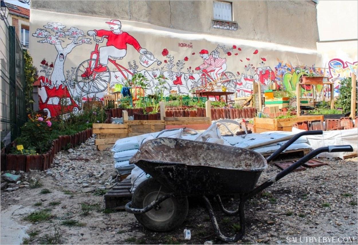 Ambiance du jardin partagé de la cité Aubry (75020)