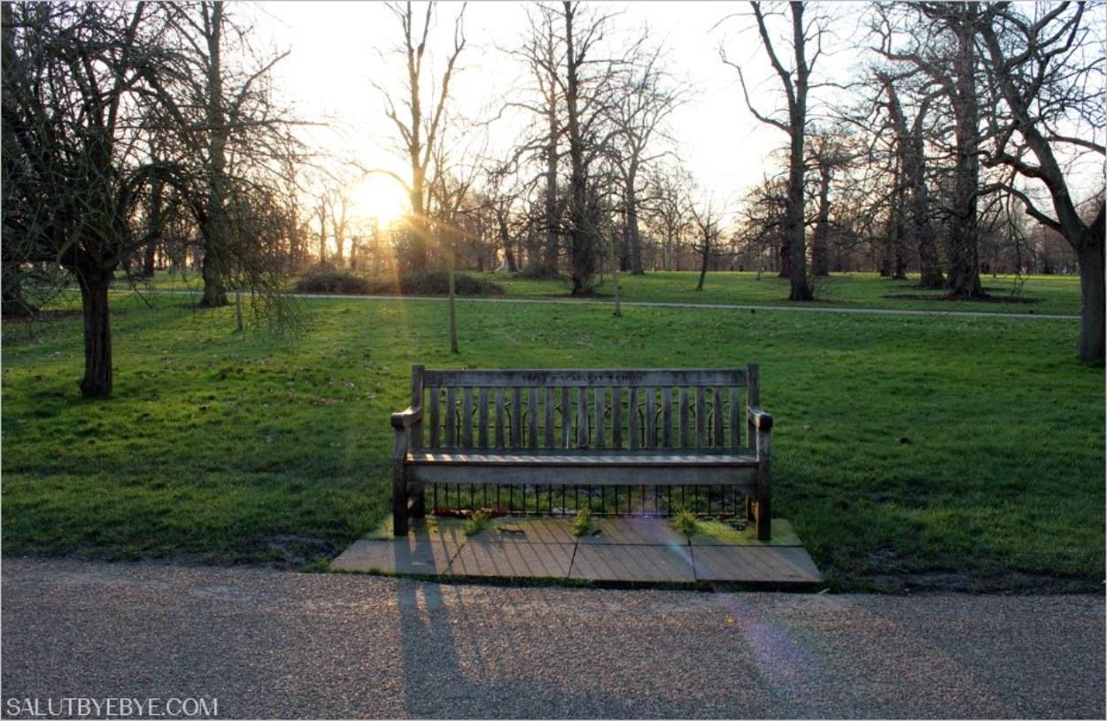 Un banc dans les Jardins de Kensington