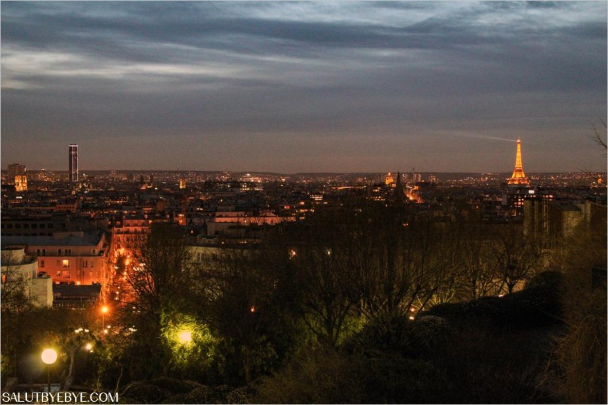 Paris de nuit depuis les hauteurs de la colline de Belleville