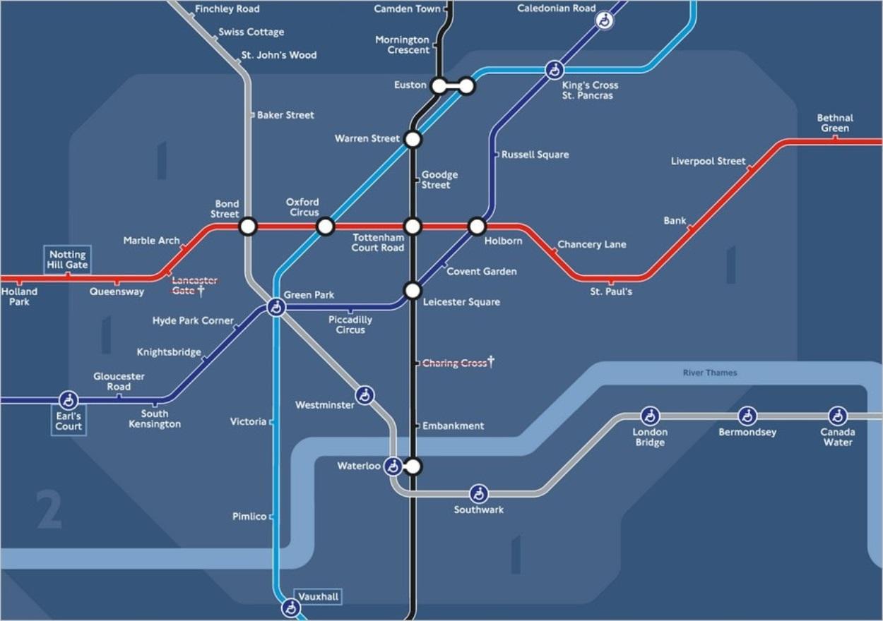 Plan du métro de nuit dans le centre de Londres