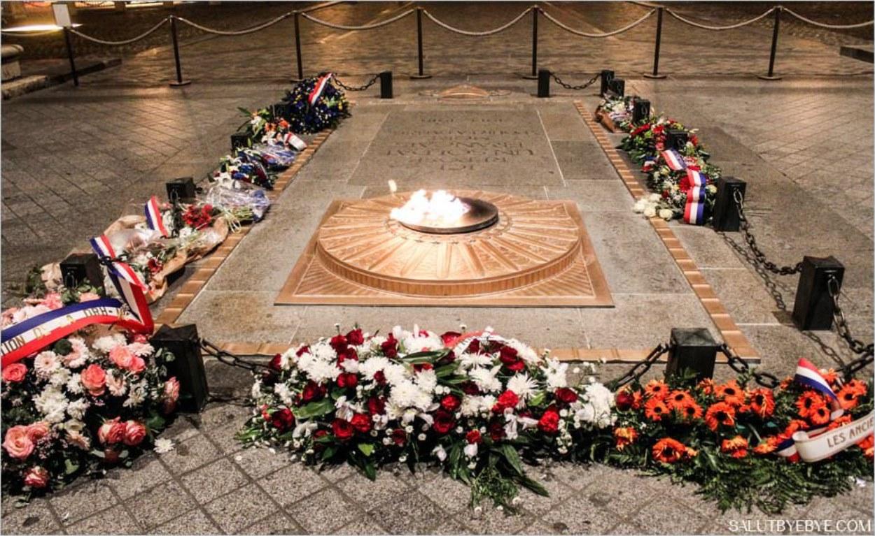 Tombe du soldat inconnu au pied de l'Arc de Triomphe