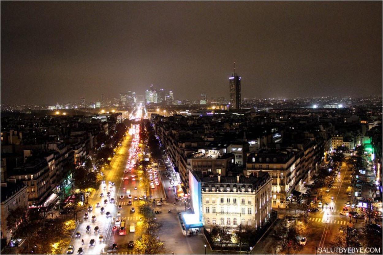 L'Avenue de la Grande Armée (à gauche) et l'Avenue Carnot (à droite). Au centre, l'hôtel Hyatt Regency Paris Etoile