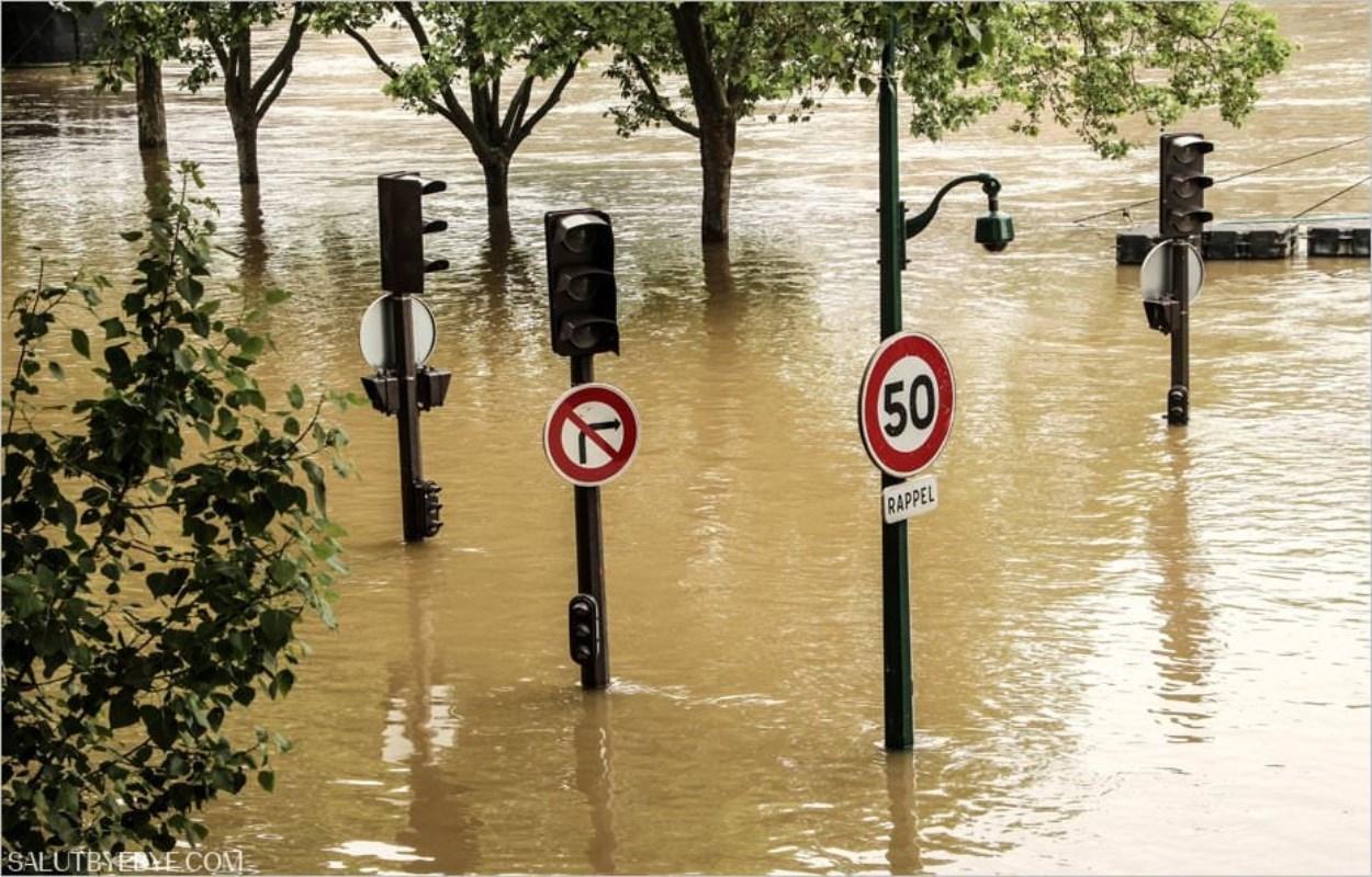 Panneaux de signalisation dans l'eau de la Seine pendant la crue