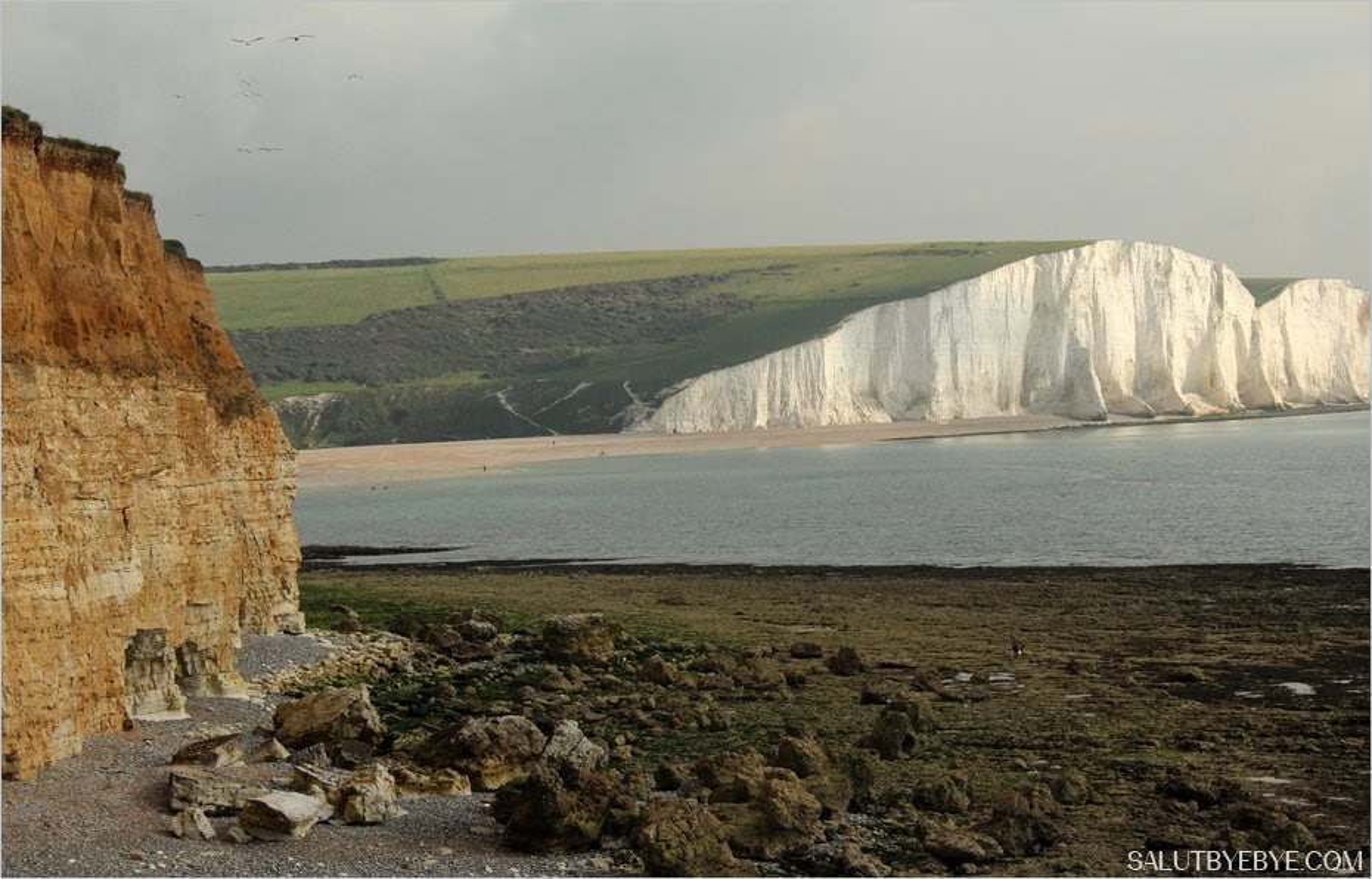 Les falaises de craie blanche à Seven Sisters en Angleterre