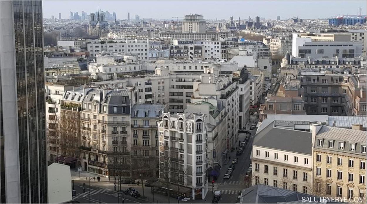 A gauche, Notre-Dame de Paris et, au fond, le quartier d'affaires de la Défense ; à droite, on distingue le Centre Pompidou