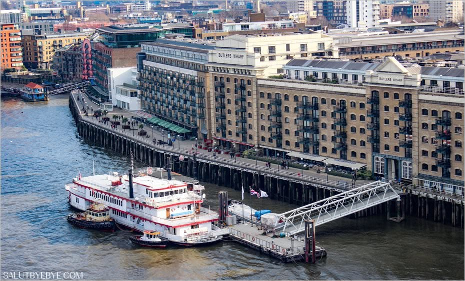Butlers Wharf depuis Tower Bridge