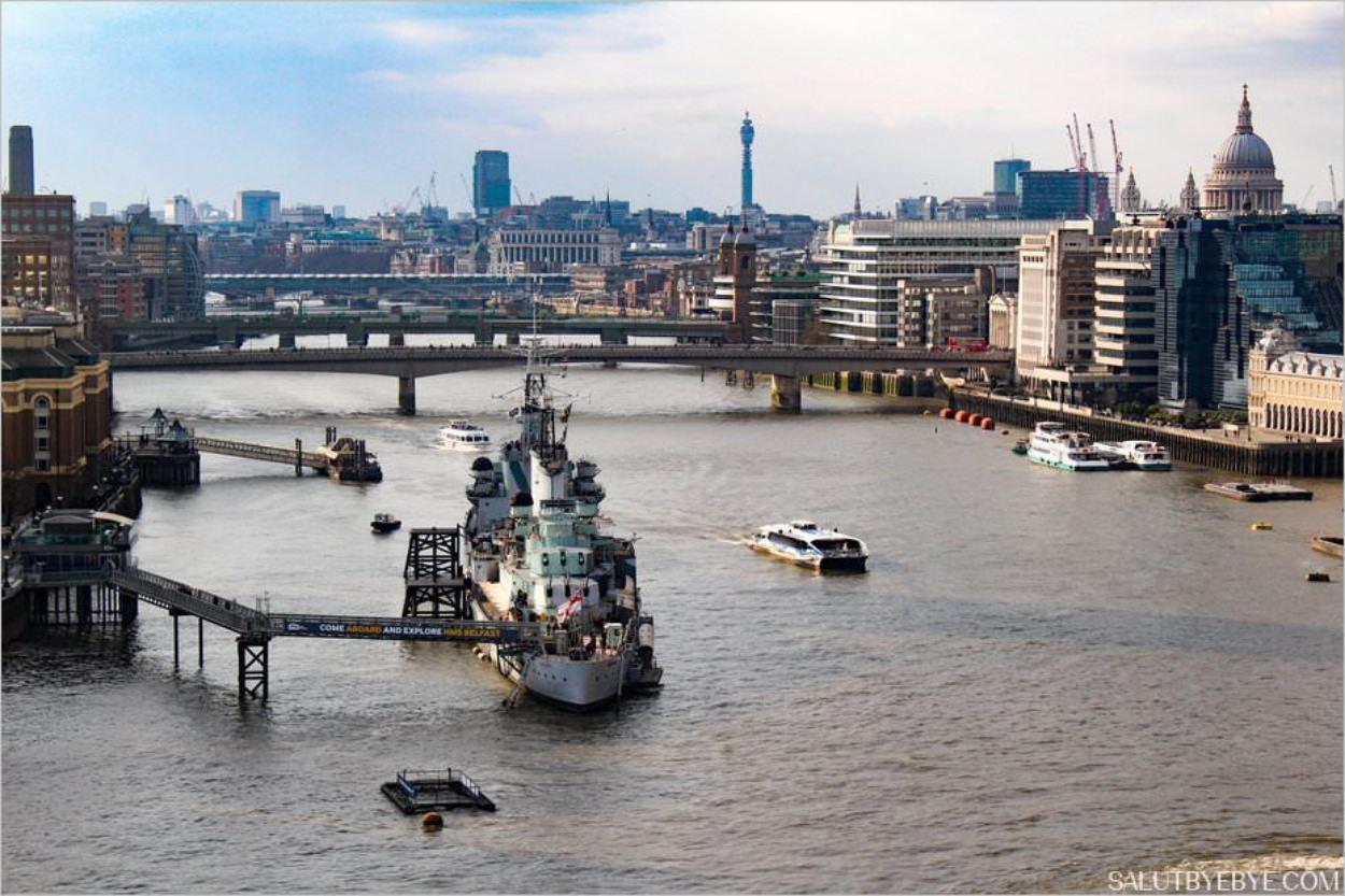 Le HMS Belfast, la Tamise et la cathédrale Saint-Paul
