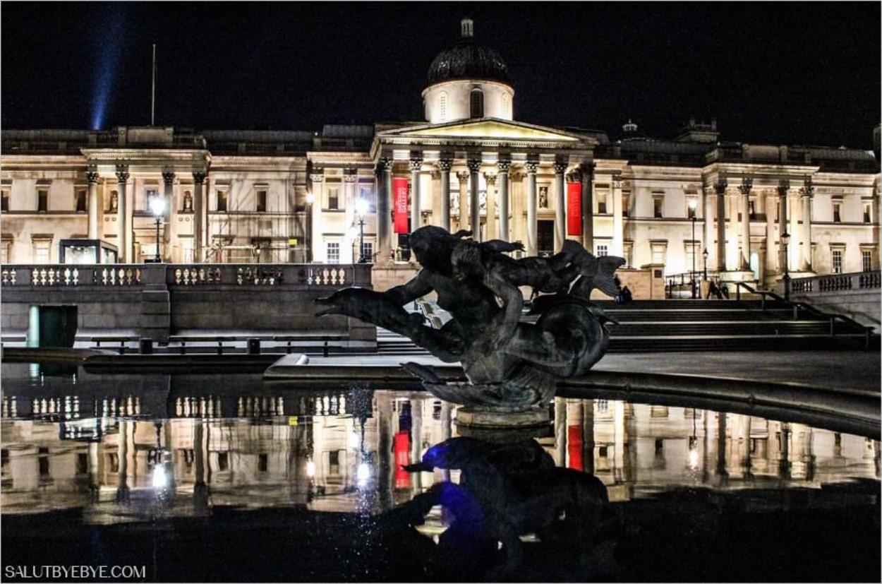 Trafalgar Square à Londres de nuit
