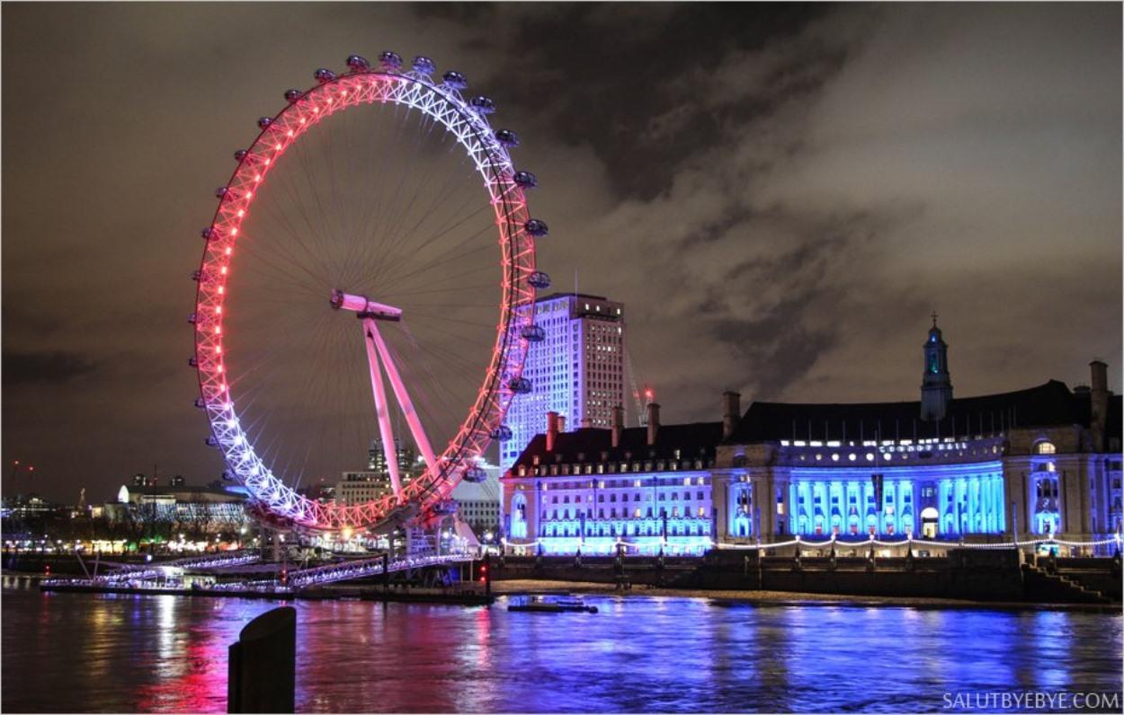 Le London Eye et la Tamise, spot photo idéal pour faire des photos de Londres la nuit