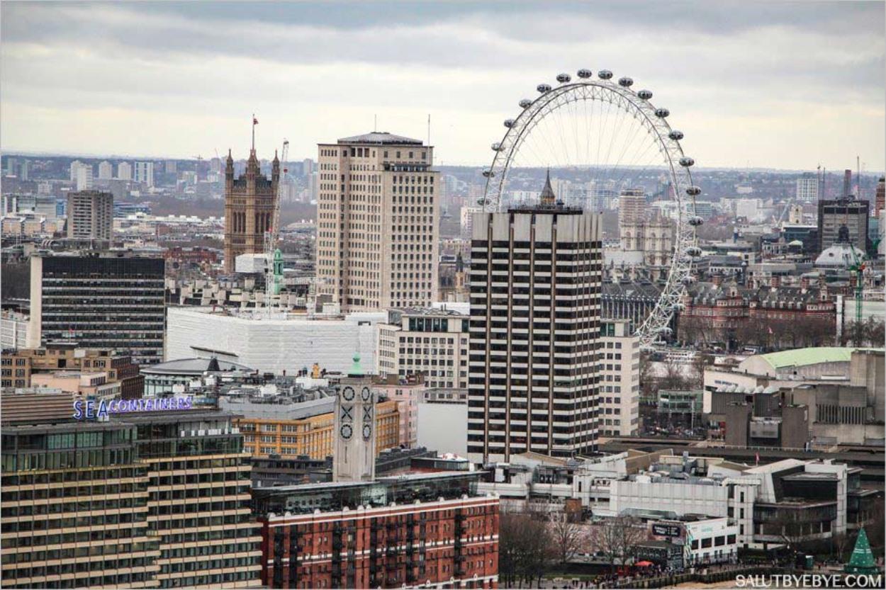 Les Houses of Parliament et le London Eye vus depuis la cathédrale Saint Paul
