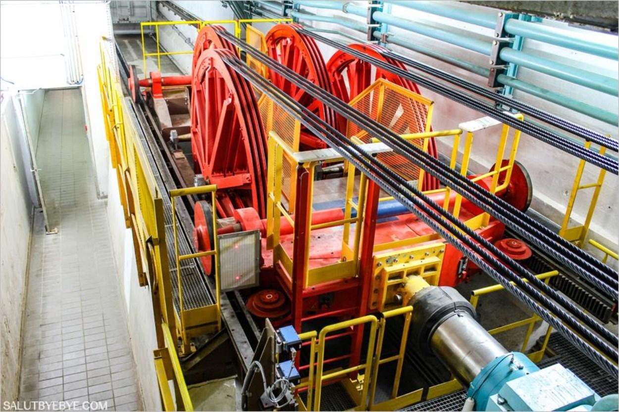 La machinerie des ascenseur de la Tour Eiffel