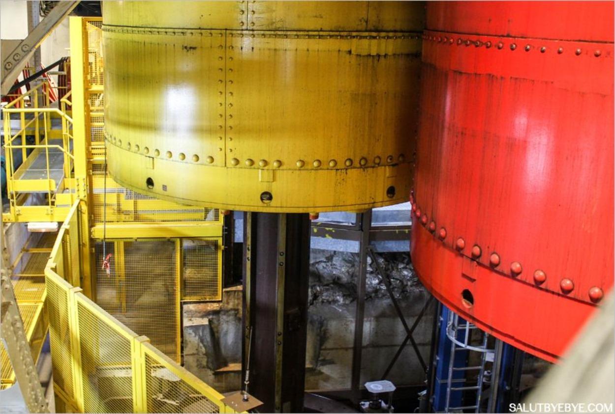 Les accumulateurs, énormes contrepoids pour faire fonctionner les ascenseurs