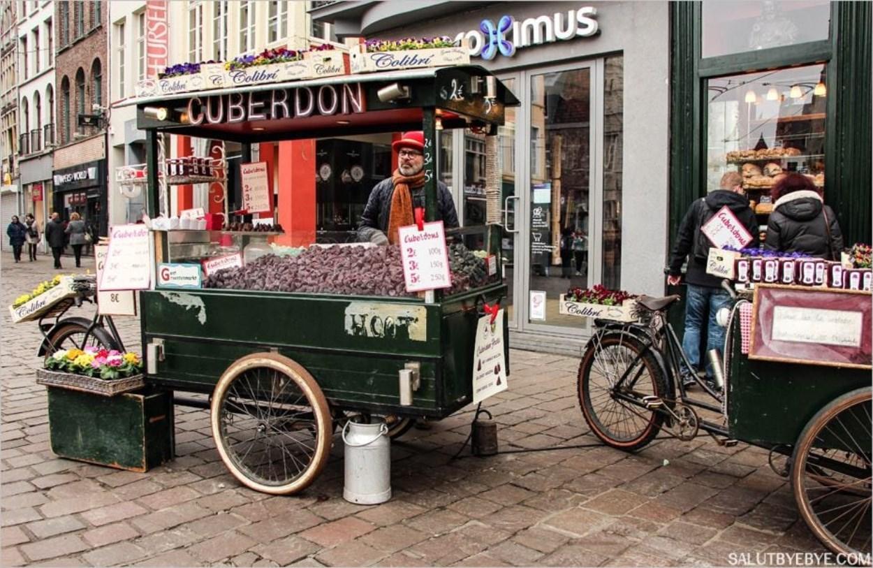 Un stand de cuberdons à Gent en Belgique