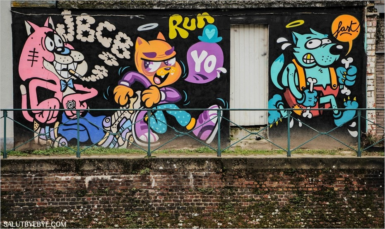 Street art à Gand - Bue the Warrior, Lugosis et Dick Tate