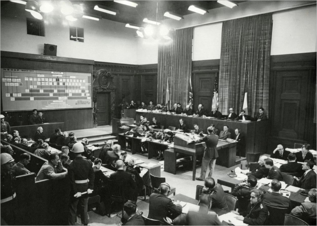 La salle d'audience 600 pendant le procès de Nuremberg