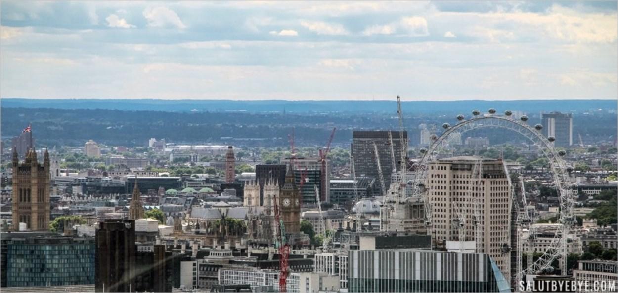 Big Ben, Westminster et le London Eye depuis le SkyGarden à Londres