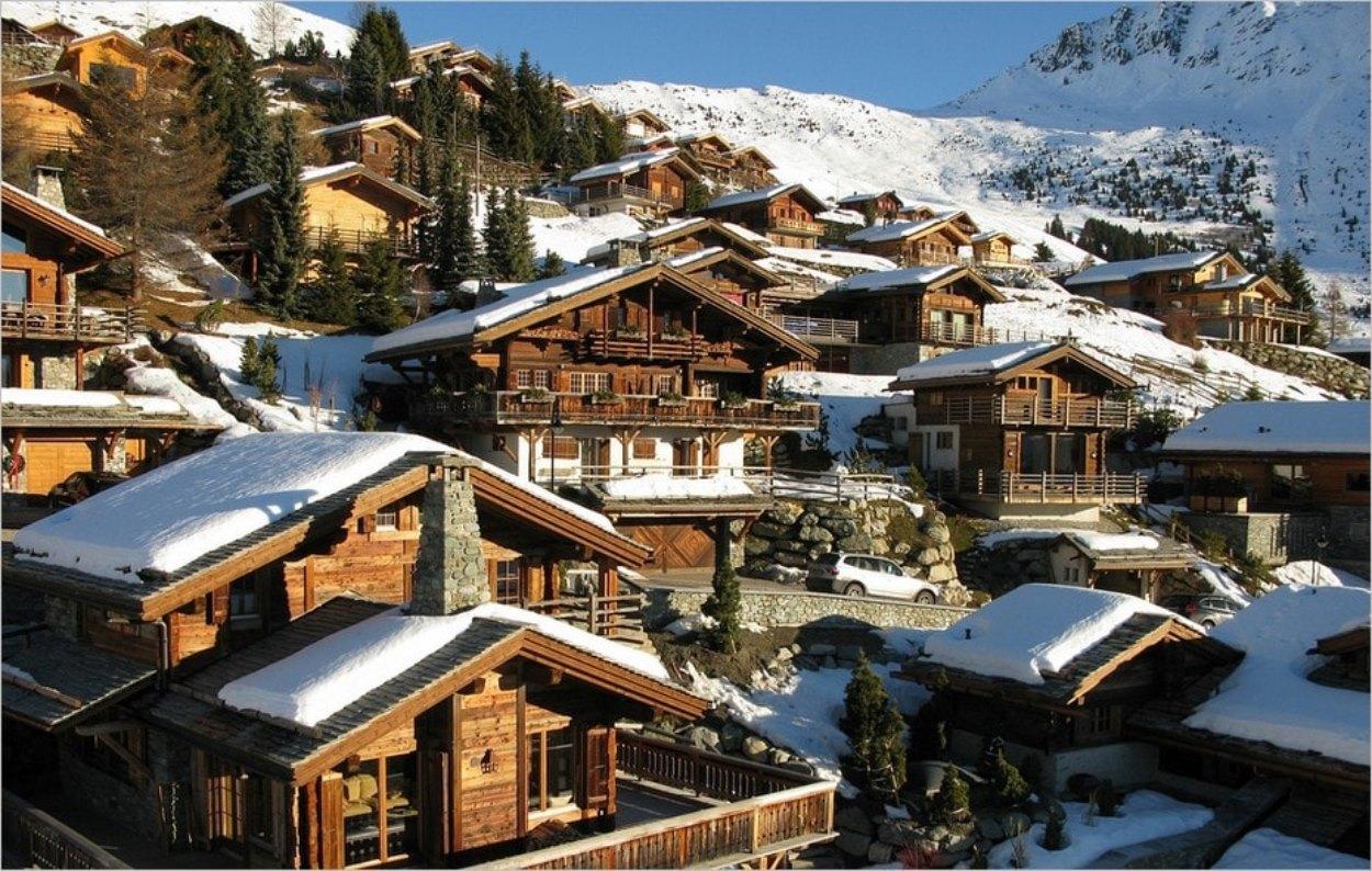Verbier en Suisse au mois de janvier