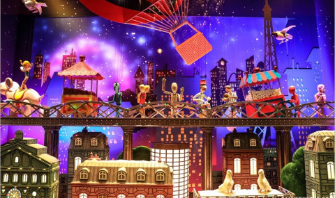 Vitrines de Noël 2017 des grands magasins du boulevard Haussmann à Paris