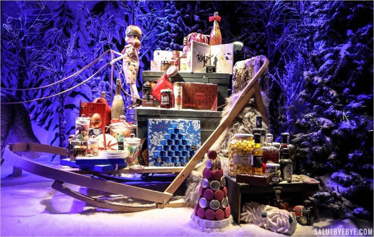 Gourmandise dans les vitrines de Noël du Printemps