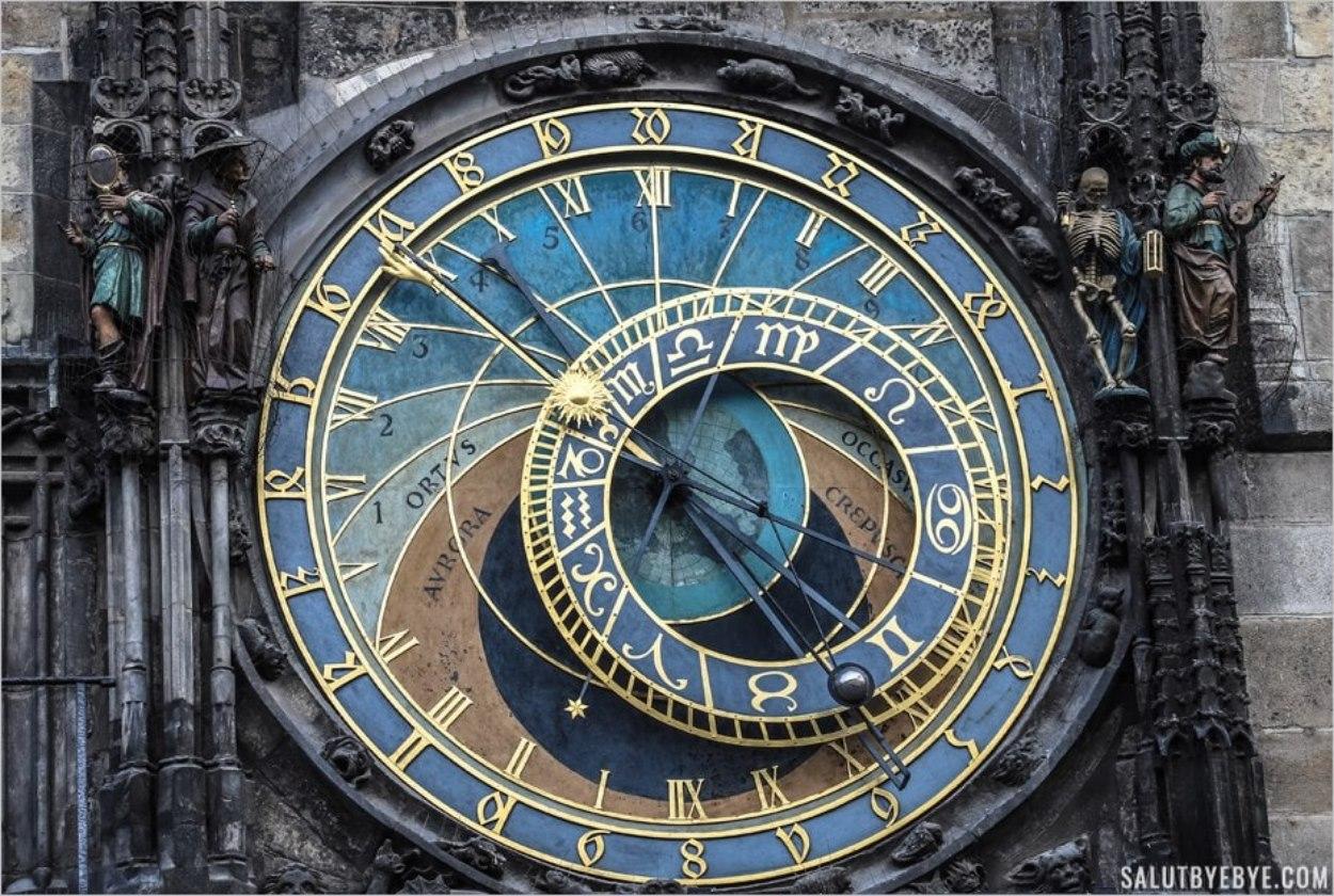 Partie haute de l'horloge astronomique de Prague