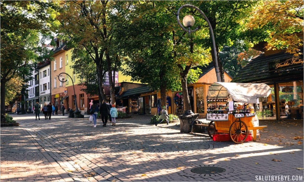 La rue Krupowki à Zakopane en Pologne