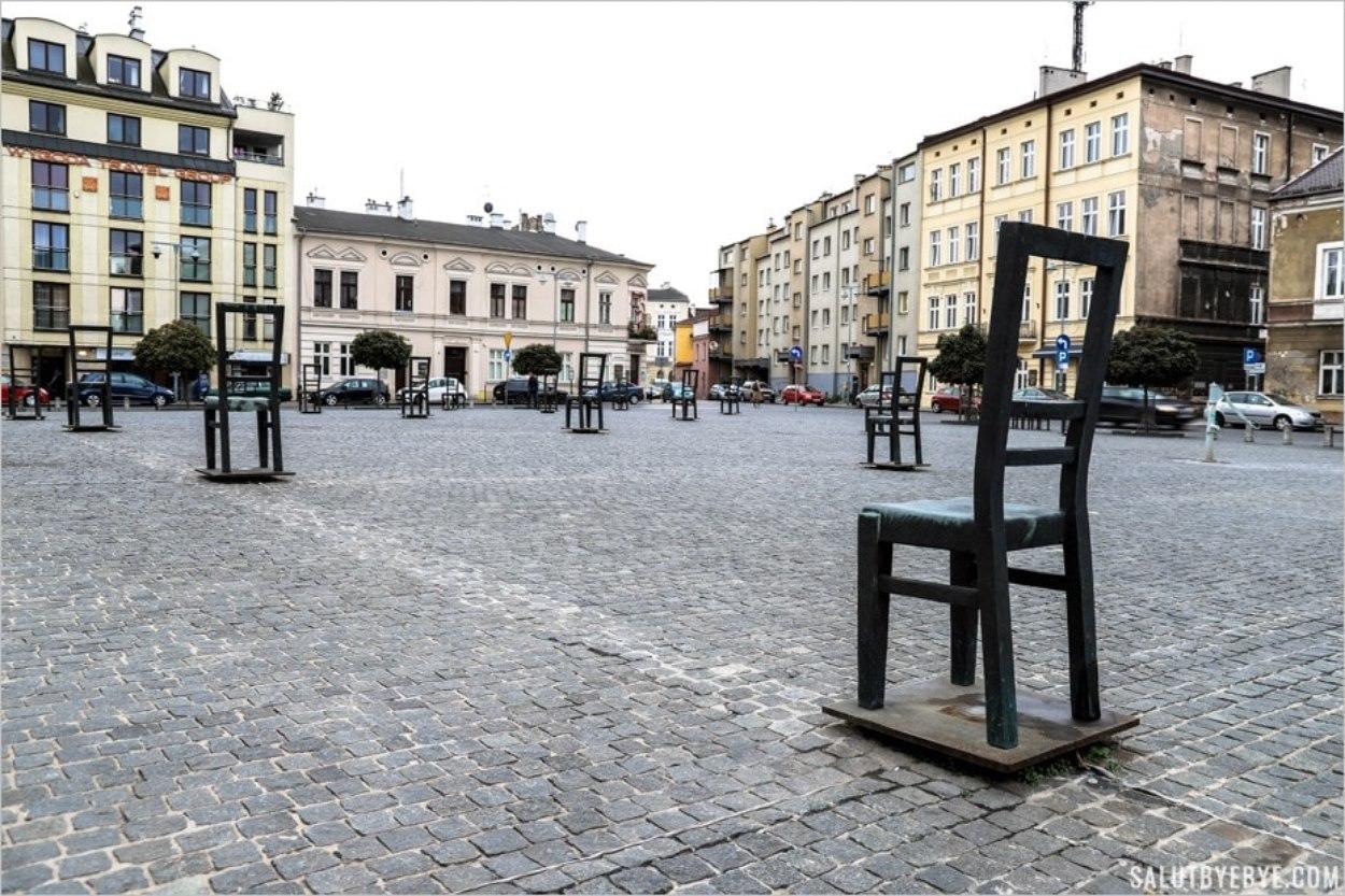 Place des héros du ghetto (Bohaterow Getta) à Cracovie en Pologne