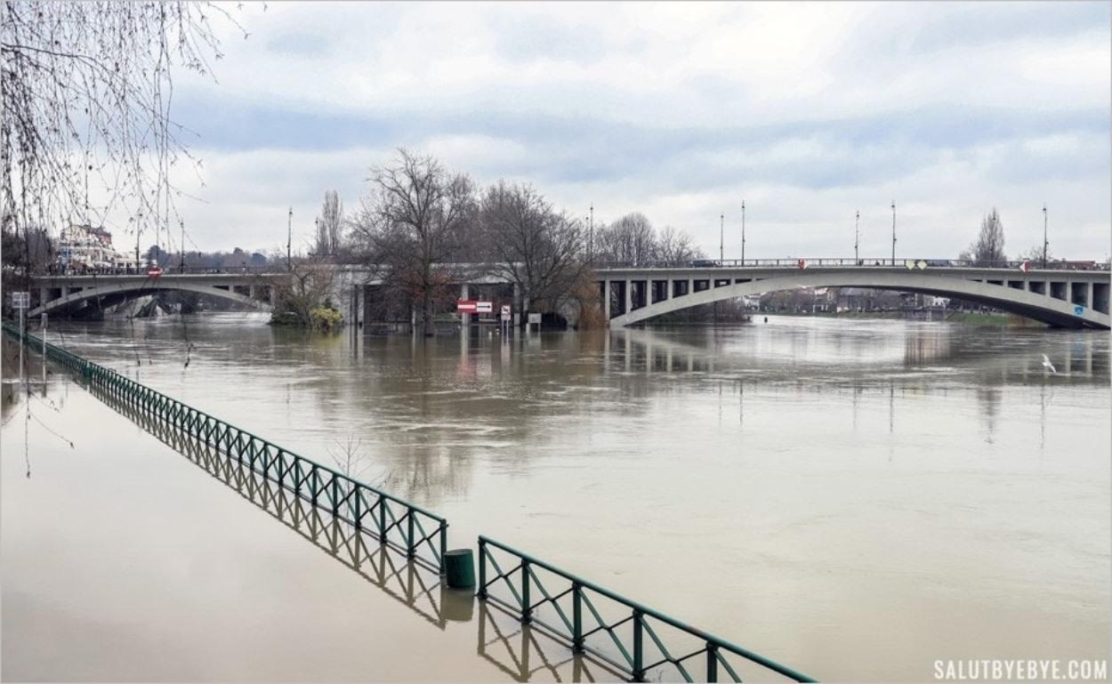 La pointe de l'Ile Fanac à Joinville-le-Pont - Crue de la Marne 2018