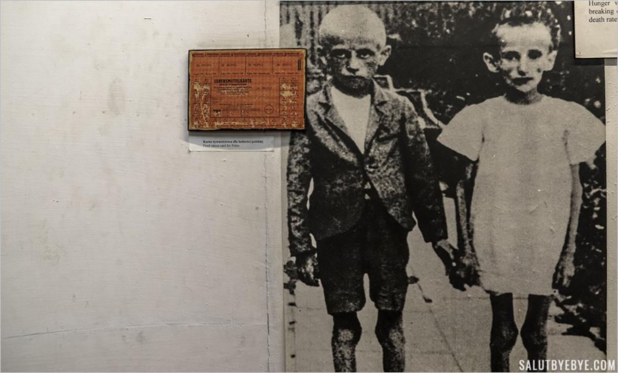 Des enfants polonais affamés et une carte de rationnement - Musée d'Auschwitz I, block 14