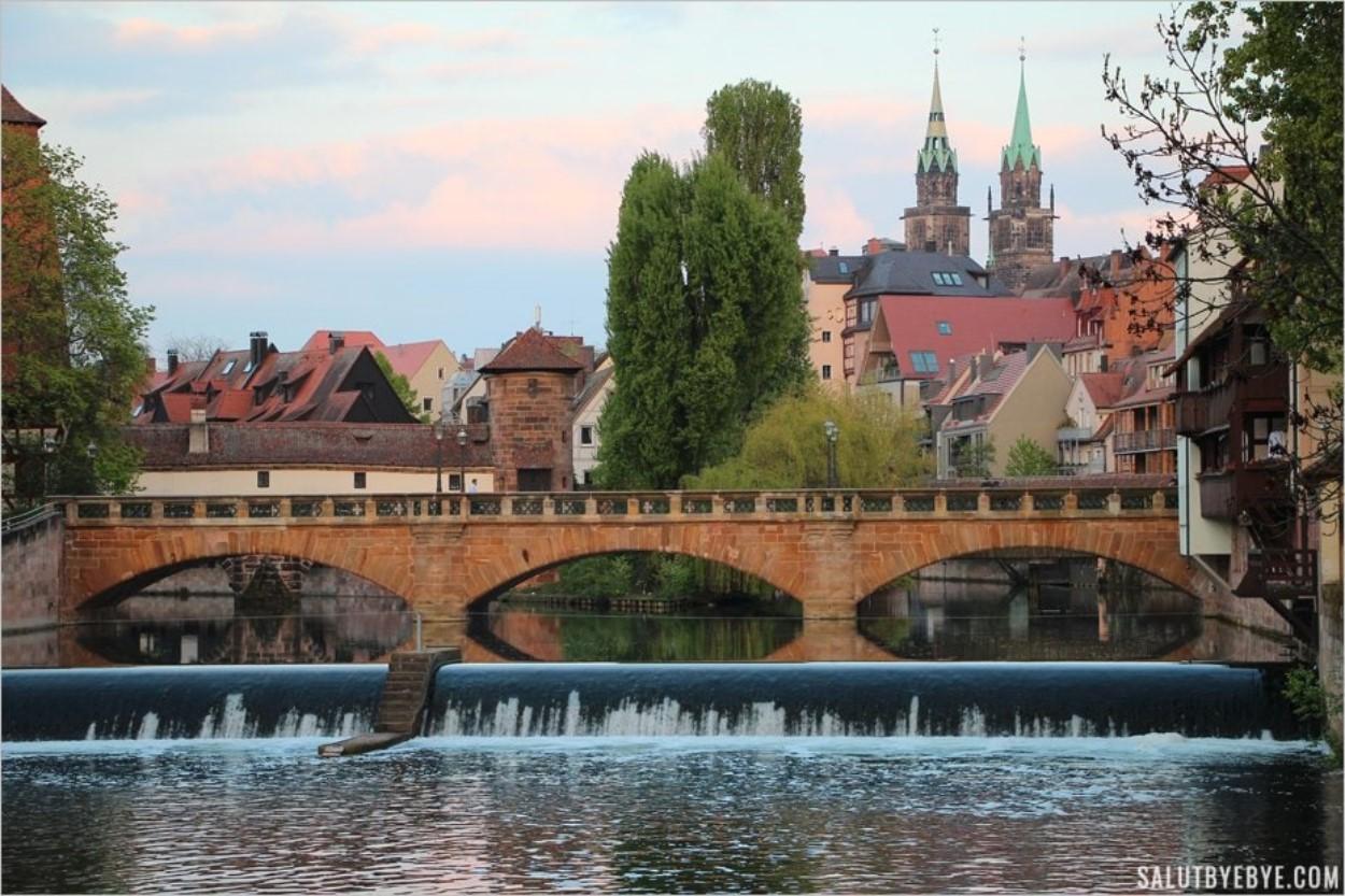 Vue sur Nuremberg depuis le Kettensteg