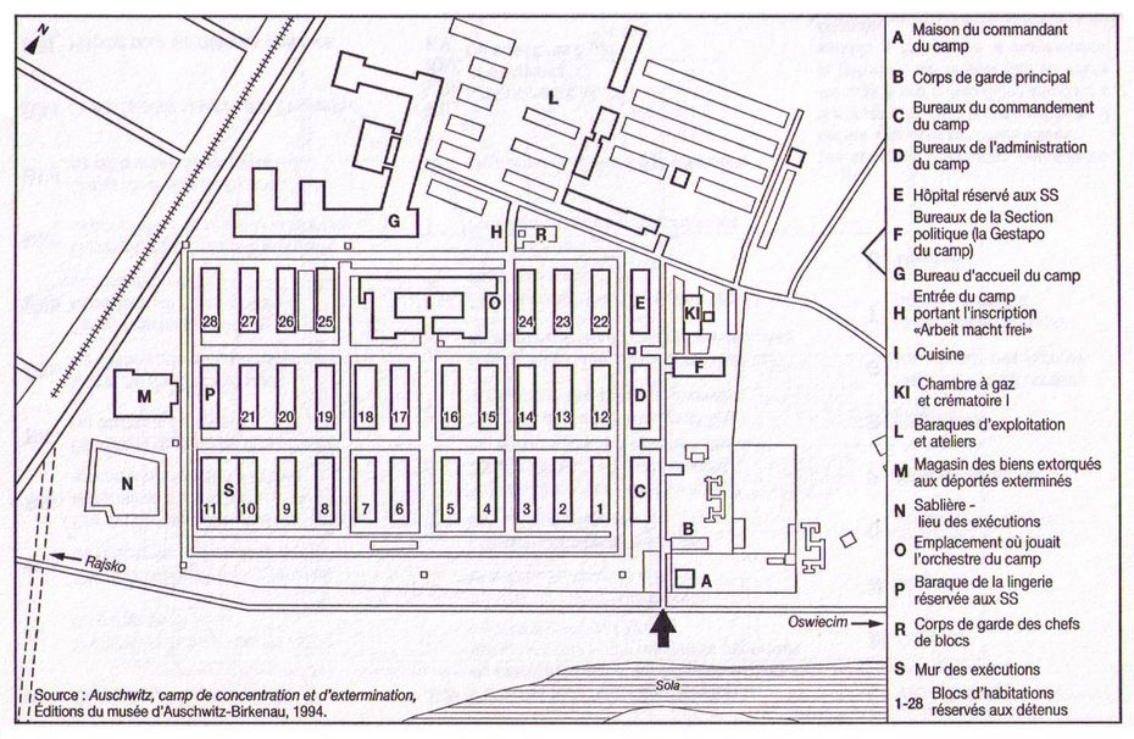 Plan du camp d'Auschwitz I