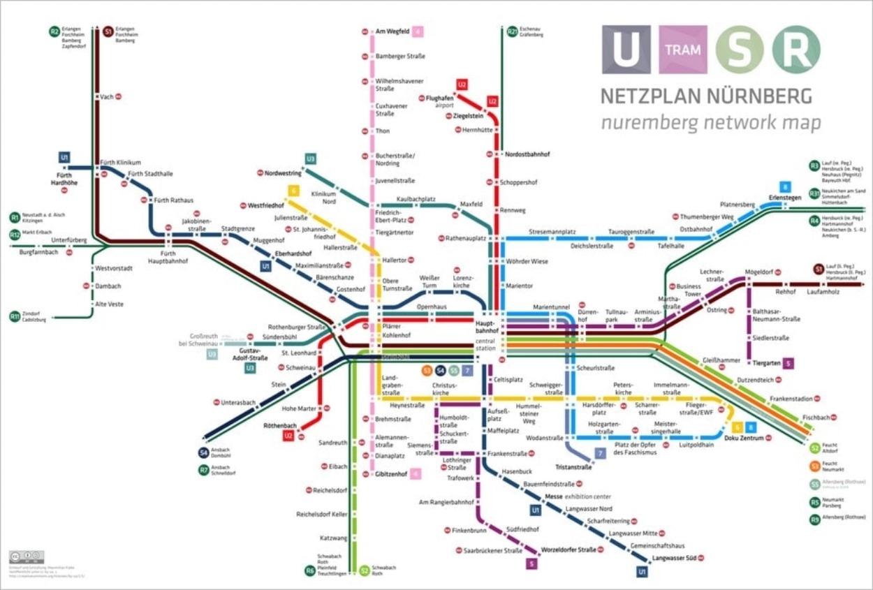 Le plan des transports à Nuremberg