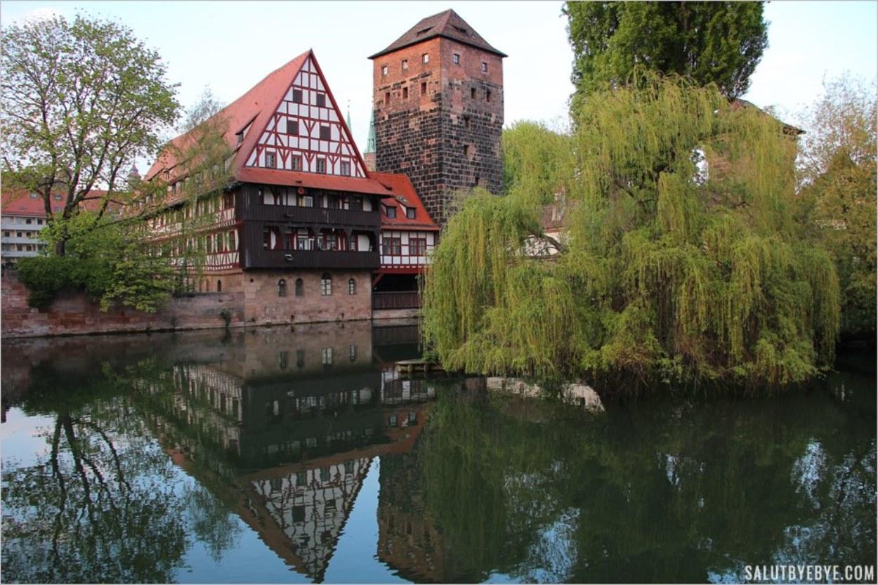 Vue depuis le Maxbrücke à Nuremberg