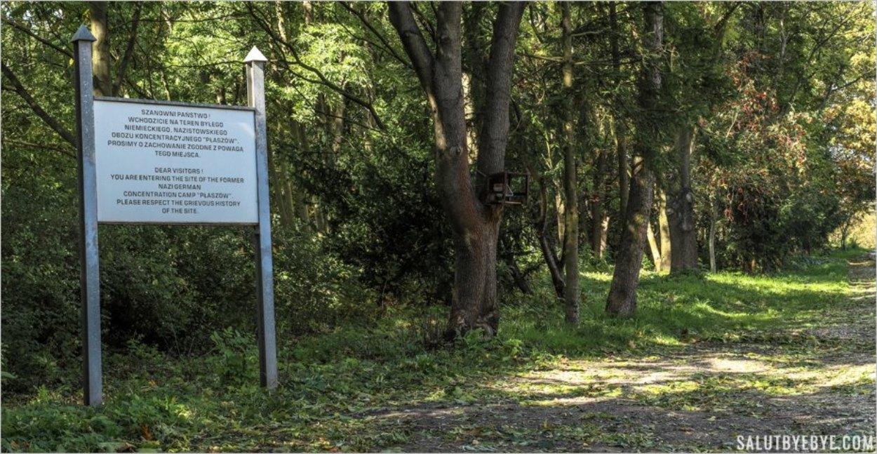 Panneau marquant l'emplacement du camp de concentration de Plaszow