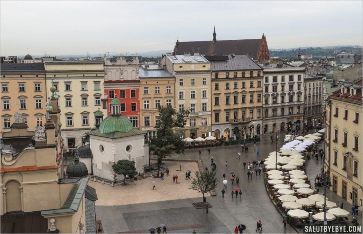 Vue depuis la Tour de l'Hôtel de Ville à Cracovie