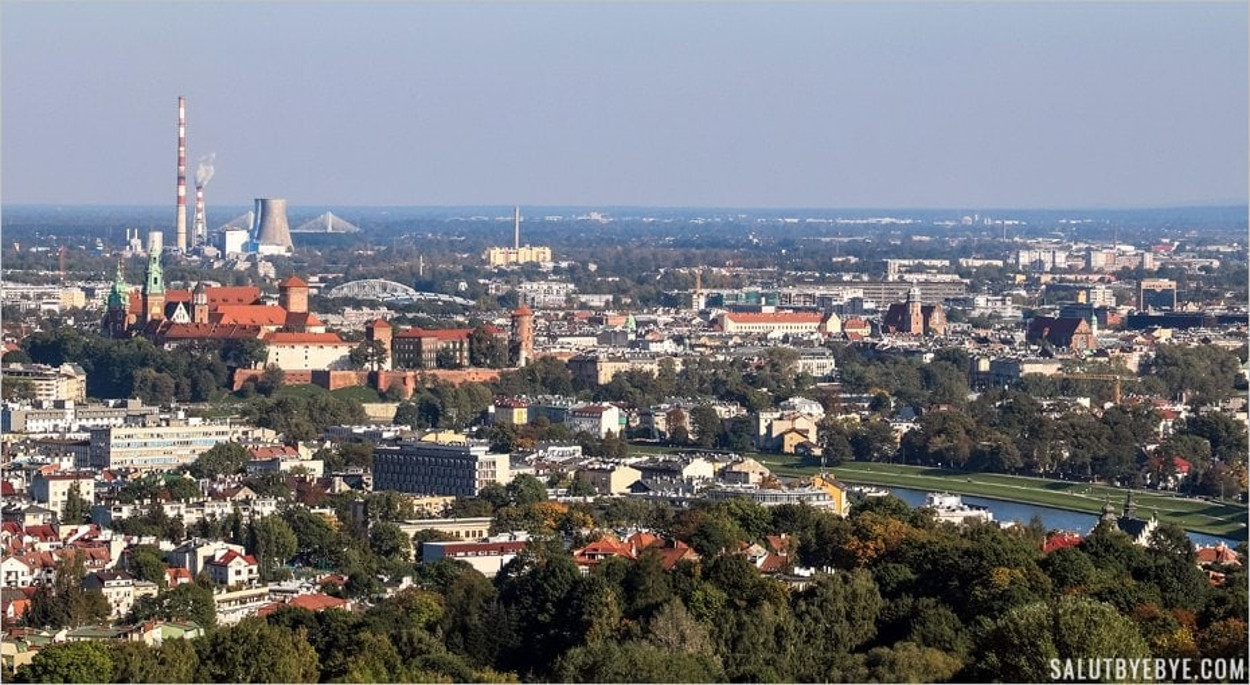 Vue depuis le Kopiec Kosciuszki à Cracovie