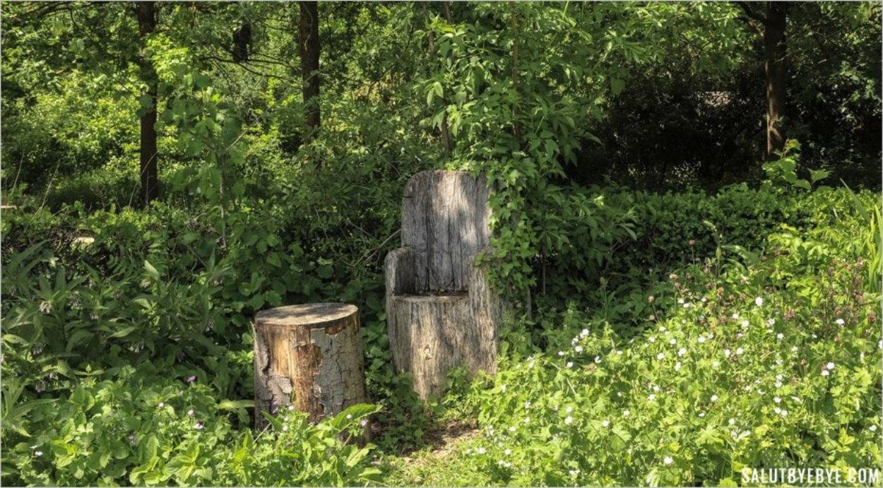 Chaise et banc 100% naturels dans le Parc Floral de Vincennes