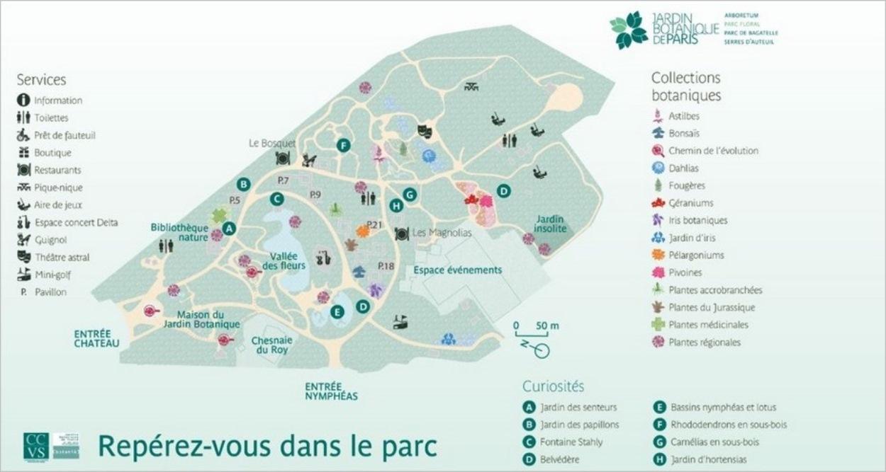 Plan du Parc floral de Vincennes