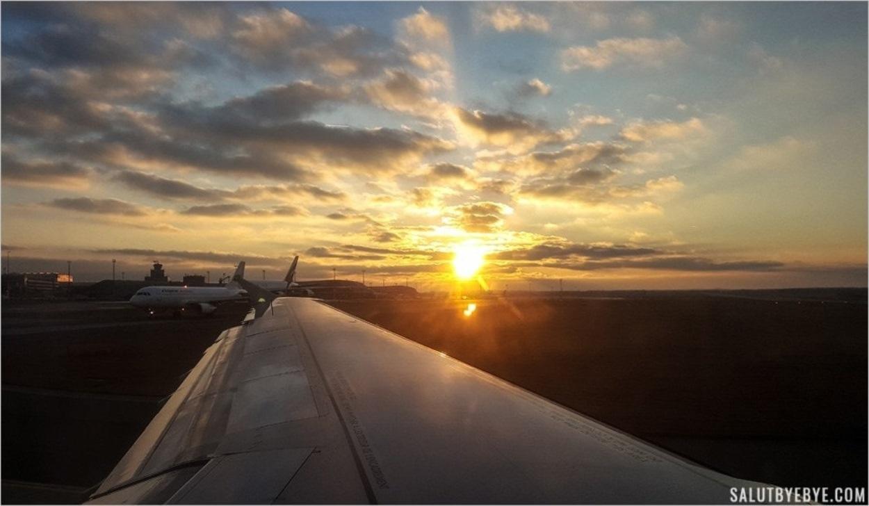 Coucher de soleil sur l'aéroport