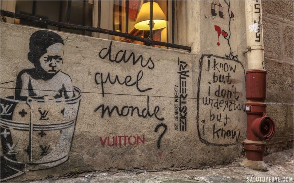 Street art - Impasse des Arbalétriers dans le quartier du Marais à Paris